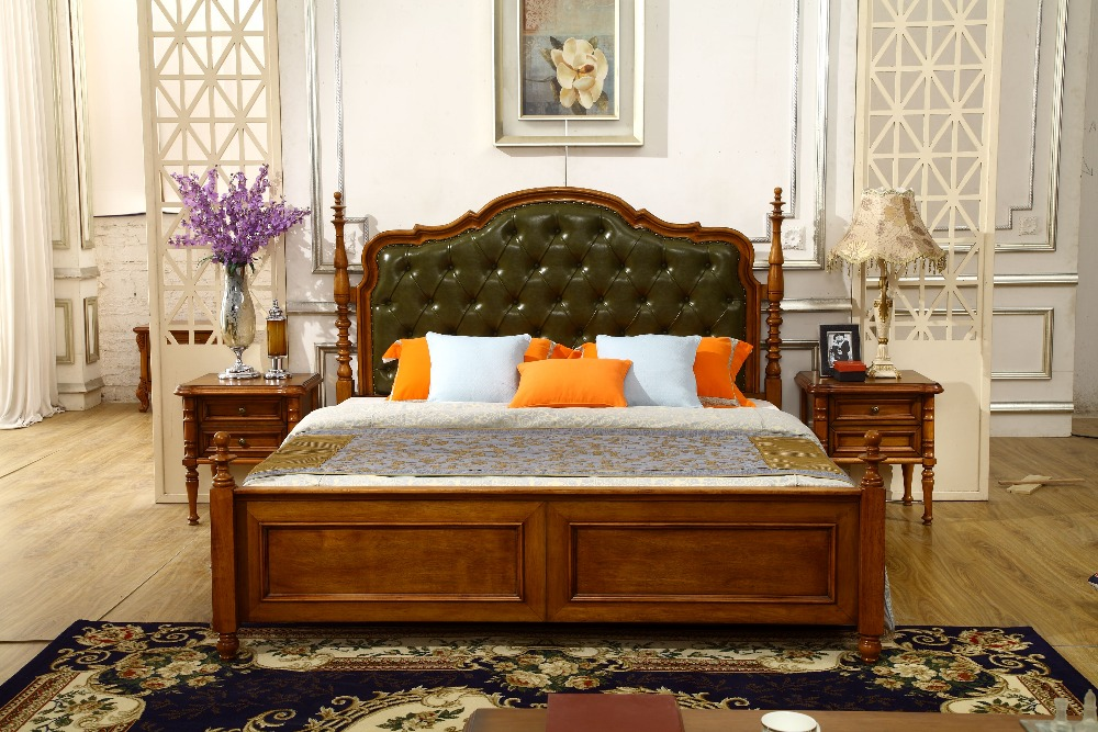 european style woode double bed design furniture
