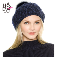HAODUOYI Women Shiny Metallic Winter Knitted Hat with Ball Warm Beret for Wholesale