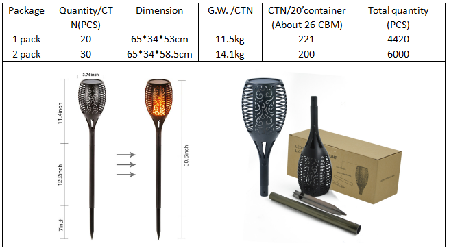 Alibaba Waterproof Dancing Flame Light Controlled Solar Panel Torch Lamp for Garden