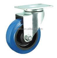 3'4'5'6'8'Blue elastic rubber caster wheel