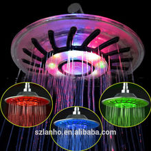 "2016 new 8"" inch Colorful Color RGB LED Light Rain Top Round Shower Head"
