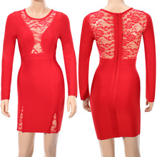 Red Lace Long Sleeve Sexy HL Rayon Bodycon Bandage Dress Sexy Fashion Girl Evening Party Dress
