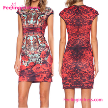 2017 Fashion summer Wholesale Vintage Flower Printing Latest Fashion Dress Design Photo