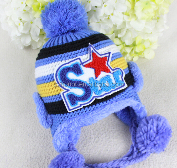Newborn baby knitted cap with lovely star design. warm hat for winter