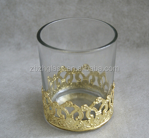 Clear glass candle xup with gold crown decoration 2014 new design