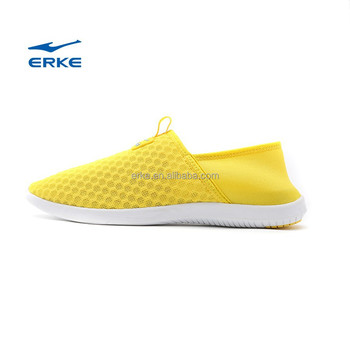 ERKE summer womens cream color casual shoes breathable beach aquatic shoes for girls full mesh flexible loafers couple syle