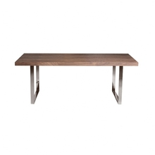 Modern simple square pictures of wooden dining table with metal legs