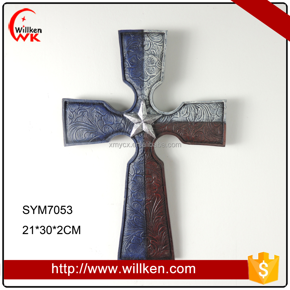 Resin star religious decorative hanging cross wall piece