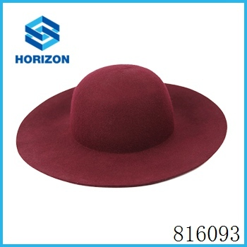 wine red floppy hat 100% wool new style high quality low price wool felt floppy hat