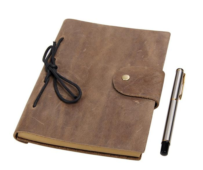 Newest custom leather journal vintage journal notebook diary crazy horse handmade leather journal