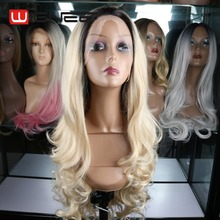 28 inch Long Wavy Synthetic Wig Ombre Blonde Lace front Wigs Factory Wholesale