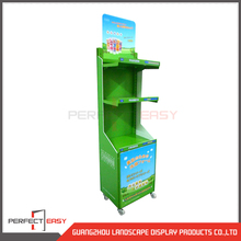 Removable metal cosmetic shelf/skincare display rack/ supermarket floor display stand