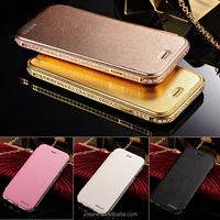 Wholesale Hot Selling Ultra-thin Pu Leather Plus Metal Flip Mobile Phone Case Cover for Iphone 6