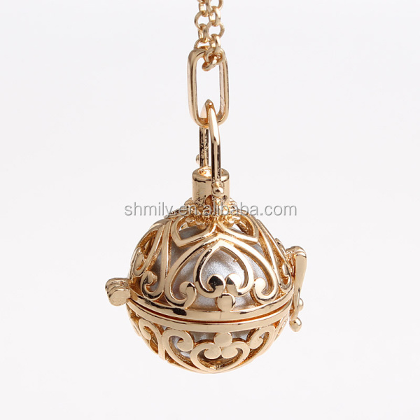 Wholesale Vintage Heart Pattern Hollow Chime Box Musical Sound Bell Harmony Pregnancy Belly Pendant Jewelry Necklace HCPN12