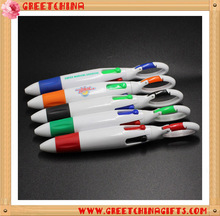 Promotional Portable Four Color Ball Pen With Keychain