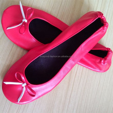 High Quality Womens Roll Up Folding Flat Ballerina Shoes with Pink Sole and Silver Upper