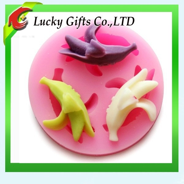 Colorful ready-made banana shape silicone soap molds cookie baking tools