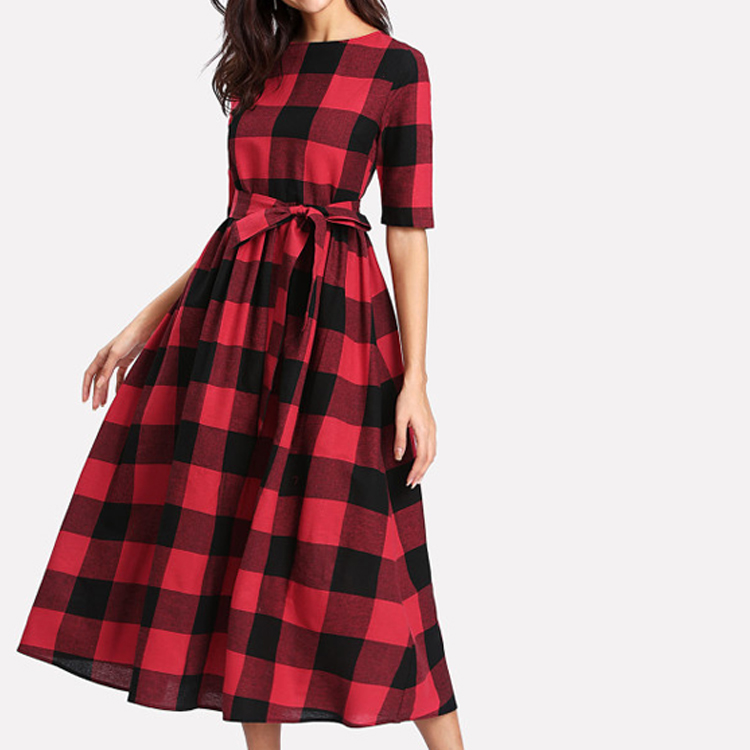 Ladies Cotton Blend Casual Fit and Flare Plaid Vintage Swing Dress with OEM Service