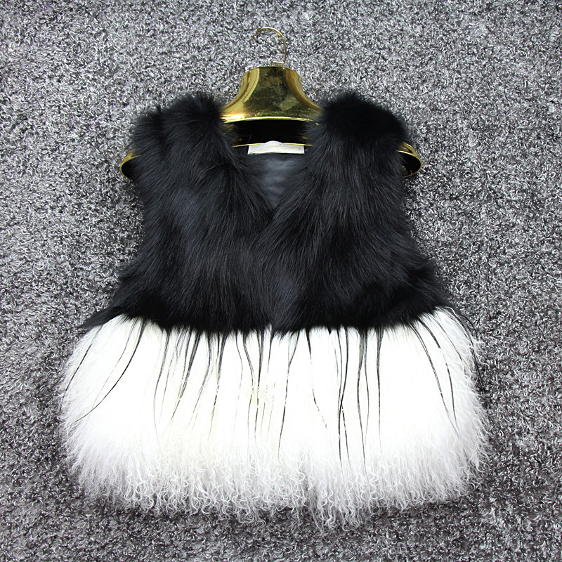 High quality lady fox fur/mongolian lamb fur stitching fur vest for women