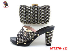 Gzmadison African lady leather high grade party pretty women's Italian shoe and bag matching sets with stones/MTS76-1