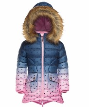 Winter warm fur hood child coat slim cotton padded girls long jacket