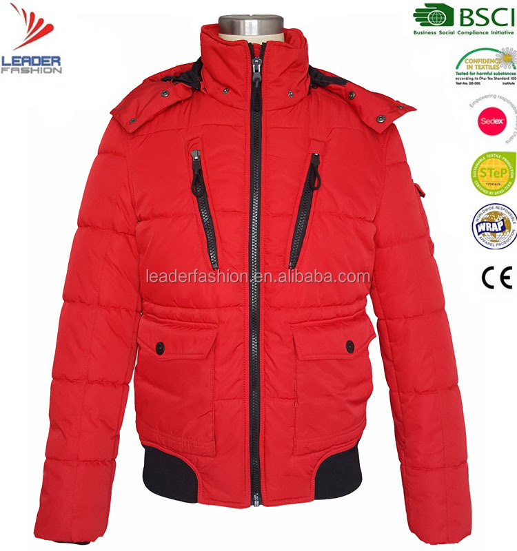 Mens popular red padded & down winter bomber jacket