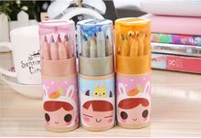 Fashion Cartoon Drawing pens ,Wooden colorful pencil with sharpener,drawing natural color pencil