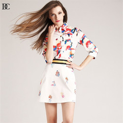 women business fashion floral print casual blouse and skirt 2 piece sets ladies skirt suits