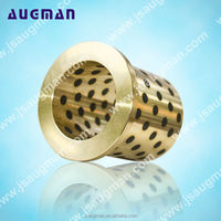 oilless brass guide bushing with collar self-lubricant bronze graphite bearing