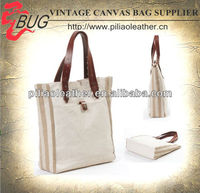 2014 Latest Leather Trim Canvas Tote Bags Bulk