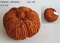 "craft wholesale artificial orange pumpkins 6.5"" with glitters for harvest home decoration"