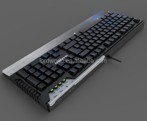Metal top cover 3 color backlit Ergonomic plunger Gaming Keyboard USB oil injection Backlight Keyboard