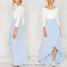 JHB1797 Hot Selling Pretty Chiffon Ruffle Trim Blue Long Maxi Skirt For Lady