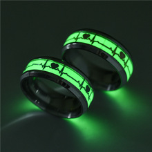 Heart Luminous Ring Glow In The Dark Ring stainless steel Ring