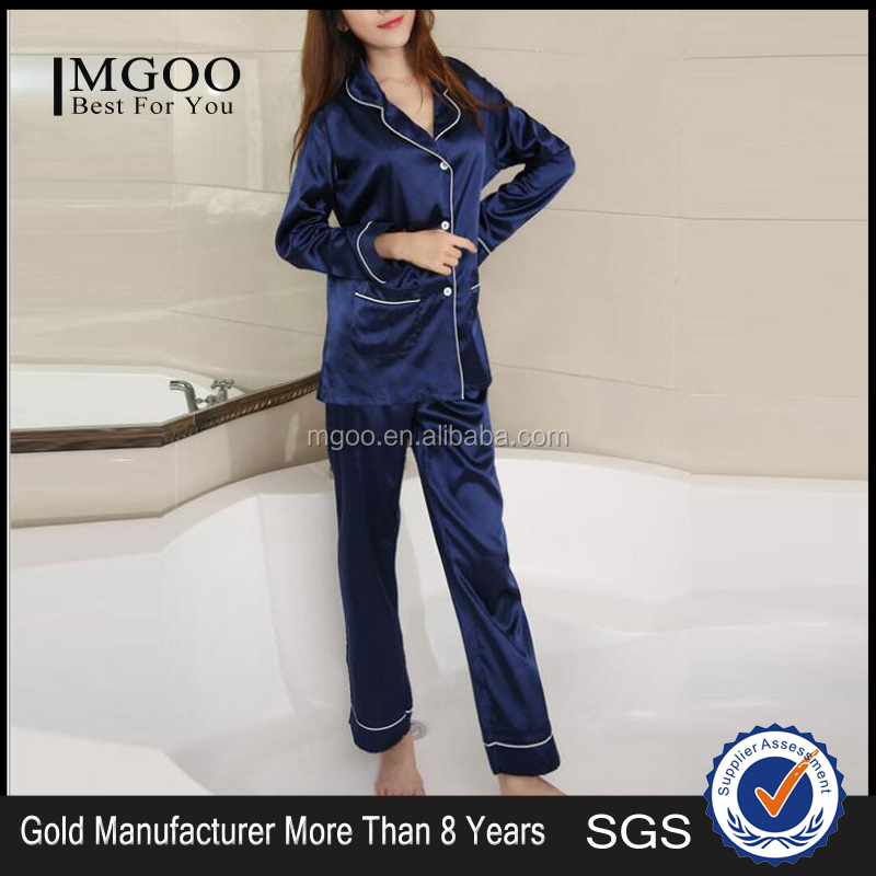Factory Wholesale Custom Bulk Women Sleep Pajama Blouse Pocket Long Sleeve Korean Sexy Silk Satin Pajamas Suit