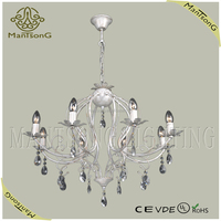 Free shipping hot sale Classic iron painting white chandelier light with candle holder and crystal drop CE/VDE/UL