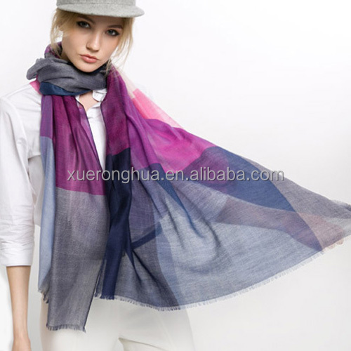 100% wool water soluble wool scarf shawl in plaid pattern for ladies