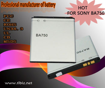 BA750 Mobile phone battery for Sony Ericsson LT18i/LT15i/XPERIA GO in 3.7V 1500mAh