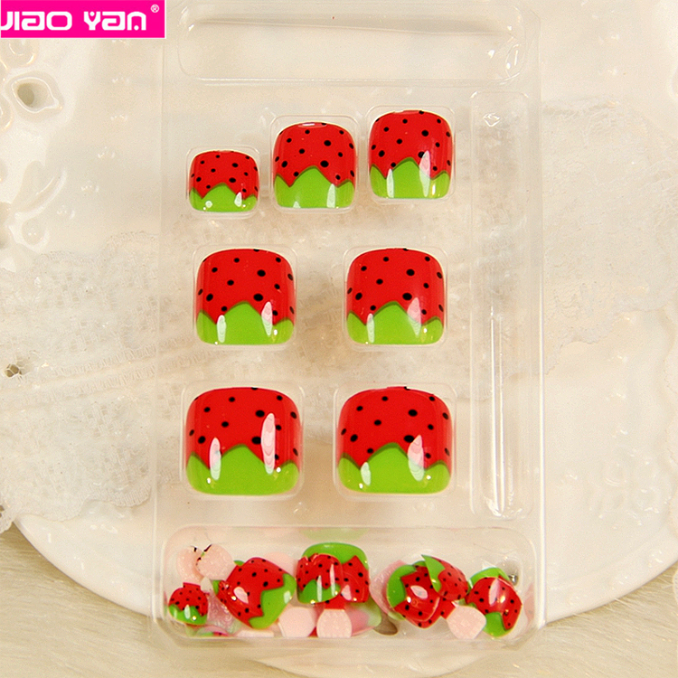 24pcs strawberry design press on toe nail tips korea with adhesive tape#2132