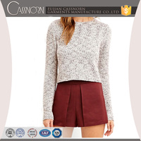 Marled short body rib-knit cuffs long sleeve pullover cotton knit sweater