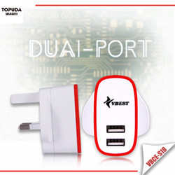 Intelligent 5V 2.1A mobile power adapter dual USB port Charger With Smart Sharing for each USB Port