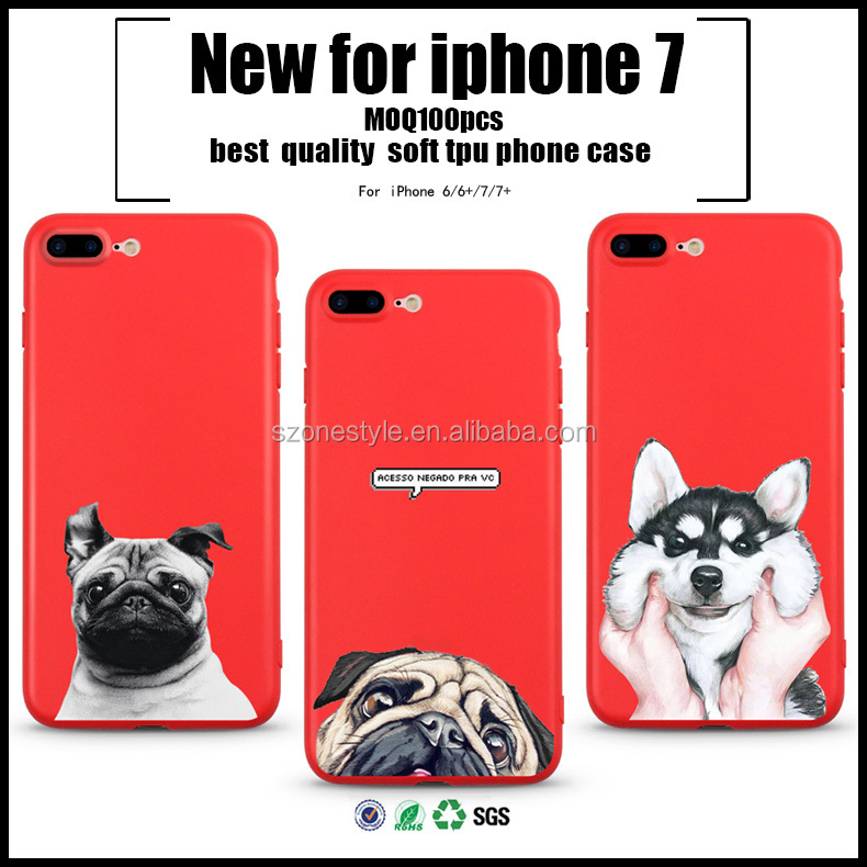 For iphone 6 soft tpu printed color thin phone case for samsung dog cut for iphone 7 design case