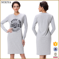 Nixiya 2016 hot sale latest woman printed dress design fashion winter lady custom kness length long sleeves dresses