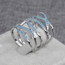 High Quality Simple Style Unique Hollow Stacked Crystal Long Knuckle Ring Latest Silver Ring Design for Women in Party Accasion