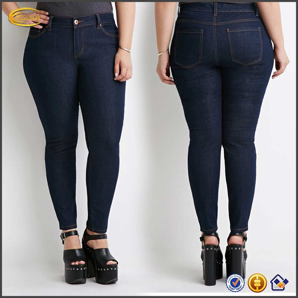 Wholesale OEM Fat women Classic ladies jeans top design with Five-pocket construction skinny jean pants