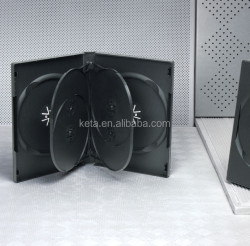 DVD 22MM Thick Sextuple Plastic Black Cases For 6 Discs With Sleeve