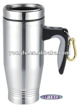 Easy to carry double wall stainless steel auto mug available in any surface treatment