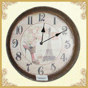 YUNFEI Vintage MDF Effiel Tower and High heels Wall Clock