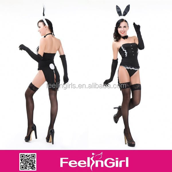 2014 Newest Wholesale Cute Black Bunny Girl Animal Costume For Sex