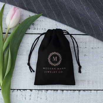Black cotton jewelry packaging chic wedding favor custom drawstring bags